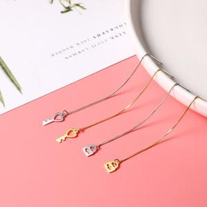 B Gold Key Hanging Earrings S925 Sterling Silver Asymmetric Gold Lock Ear Pendant Life Love Sweet Cool Long Tassel Ear Stud Moq1
