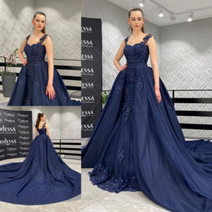 Navy Blue Mermaid Beaded Prom Dresses Sheer Bateau Neck Lace Appliqued Evening Gowns With Detachable Train Plus Size Formal Dress