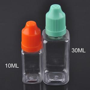 Vide forme carrée bouteilles d'huile en plastique PET 10ml 30ml e bouteille de compte-gouttes d'huile liquide avec bouchon coloré et à long childproof conseils minces