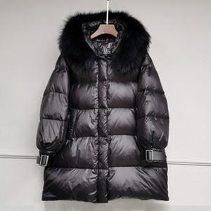 Janveny 90% Pato Branco jaquetas para as Mulheres 2020 Jacket Inverno Feminino soltas Longo brilhante Parkas Natural Raccoon Fur com capuz Casacos