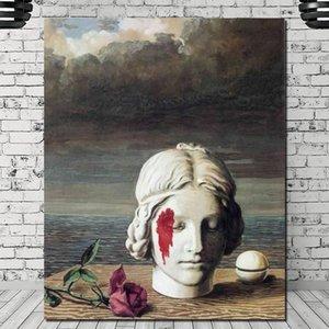 Wohnkultur Leinwand Surrealismus Poster Rene Magritte Malerei Statue Poster Wand-Kunst-Modular-Speicher-Abbildungen für die Nacht Hintergrunds