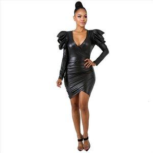 Women Dress Pu Faux Leather Long Sleeve Metallic V Neck High Elastic Solid Slim Fit Short Mini Sexy Black Dress Solid Dress