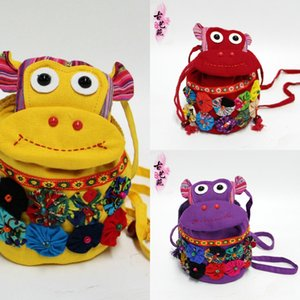 style coin purse fabric Ethnic Group Wallet nationality featured monkey bag cartoon mini ethnic cloth bag