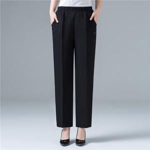 Summer Women Cotton Linen Harem Pants Ankle-Length Trousers Women Plus Size Vintage Korean Pants High Waist Black Straight Pants T200727