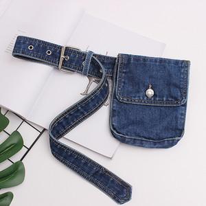 Annmouler Moda Kadınlar Paketi Ayarlanabilir Bel Mavi Jeans Fanny Küçük Telefon Kılıfı Yüksek Kalite Kemer Hip Çanta T200717
