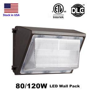 IP65 120W 80W LED 벽 팩 라이트 램프 옥외 LED 벽 상장 DLC의 ETL 빛 램프 동등한 400W 전통 wallpack 램프를 장착
