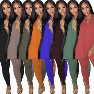 Aufmaß Frauen Split-T-Shirt Anzug Short Sleeve Aufmaß T Top-Gamaschen-Hosen 2-teilig Outfits Volltonfarben Club Party Anzüge S-3XL D7804