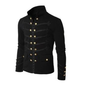 Herren Jacke Designer Mittelalter Weinlese natürliche Farben Jacke Lässige Stehkragen Zweireihige Jacke Men S Bekleidung