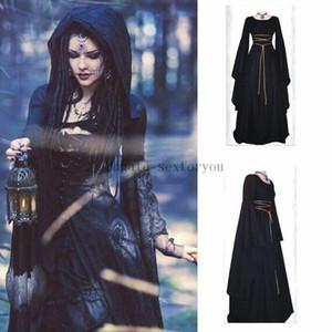 New Medieval Hexe-Kleid für Frauen-Halloween-Partei Cosplay Leistung Kleidung Mittelalter Vampir Braut Kostüme