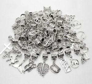 100pcs / lot alloymixed Weinlese-Anhänger große Loch-Korne passen Pandora Armband-Halskette DIY Schmuckherstellung