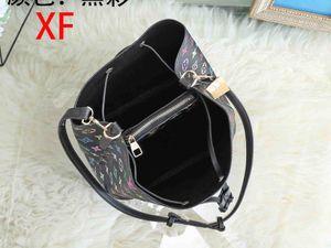 Messenger bag Women Bucket Shoulder Bag large capacity vintage printing PU Leather lady handbag Shopping Bag ready stock