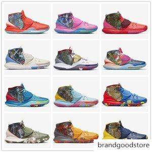 2020 Pré-aqueça NYC Miami Houston Mens tênis de basquete Kyrie 6 Tóquio Heal The World Designer Sneakers CN9839-100-404-401