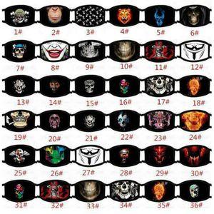 36 Stiller Yeni Komik Yüz Yeniden kullanılabilir Karikatür Baskı Tasarımcı Binme Bisiklet Koruyucu Maske Running Ultraviyole dayanıklı Yıkanabilir Maske toz geçirmez Maske
