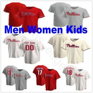 2020 Пользовательские 85 Люк Уильямс Джерси Jake 49 Аррьета 27 Аарон Нола 45 Зак Уилер 5 Ник Уильямс Человек Женщины Дети бейсбол Джерси