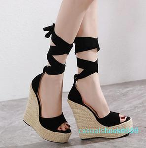 estilo Roma bowtie camurça palha trançada plataforma w-sandálias Sandale preto gladiador mulheres sandálias de 16 centímetros c09 l16