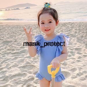 le donne del vestito autunno giapponese e INS Moda bambini di stile 2020 New coreano del bambino un pezzo grande arco di Blue Girl Haze costume da bagno