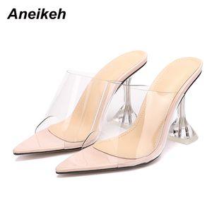 Aneikeh Pointed end Flip Flops Shoes Woman Slippers PVC peep-toe Slip-on Perspex Heel Stilettos High Heels Lady Fashion Pumps cs03