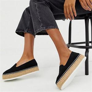 Los zapatos del diseñador de las mujeres del ante del Faux de las alpargatas Resbalón-en Mocasín Casual Plataforma Pisos 2020 zapatillas de ballet 001 Zapato de las señoras luz Zapato Mujer