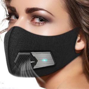 Smart électrique Masques Fan PM2,5 Masque anti-pollution allergie au pollen Bouche de protection respirante visage Couverture 4 couches réutilisables électroniques