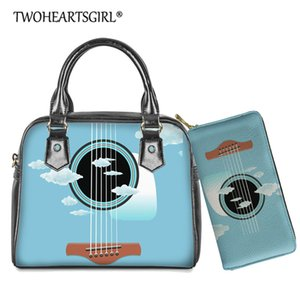 Twoheartsgirl 2pcs set Women Casual Shoulder Bag Handbag Guitar Design Female PU Leather Crossbody Bag Tote with Wallet