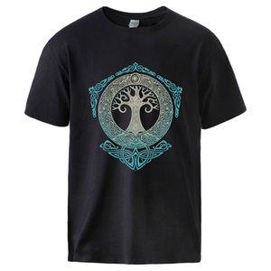 Vikings T-shirts pour homme Yggdrasil Norse Mythology été en coton T-shirts T Casual Male à manches courtes T-shirt ras du cou Vêtements de sport
