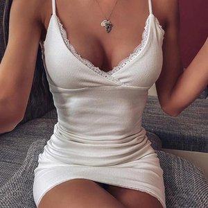 Vestido blanco Mujeres correas espaguetis con cuello en V vestido sin espalda atractivo delgado acanalado calle Vestido ajustado de manera azul 2020