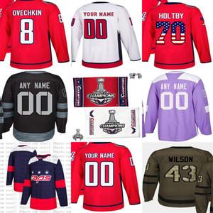 2018 Stanley Cup Final Campeón Patch Cualquier NameNO. Costumbre hockey jerseys capitales en blanco 8 Alex Ovechkin T. J. OSHIE Violeta Blanco Saludo a la Bandera