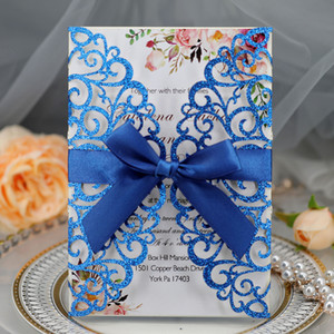Blue Glitter Laser Cut Invites for Wedding, Gold Silver Champagne Gatefold Glittery Wedding Invitations with Ribbon Free Printing