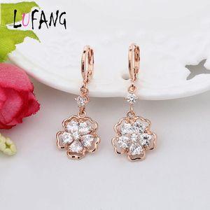LUFANG Fashion Jewelry Rhinestone Flower Long Drop Earrings For Women New Charm Vintage Bohemian National Wind Statement Earring