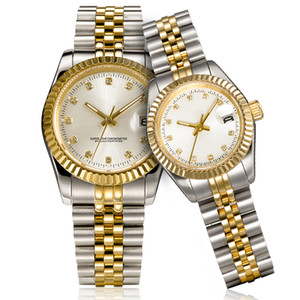Montre de lujo para hombre de las mujeres del reloj de oro automático de vestir de acero inoxidable lleno de zafiro resistente al agua Parejas luminosos estilo de pulsera clásicos