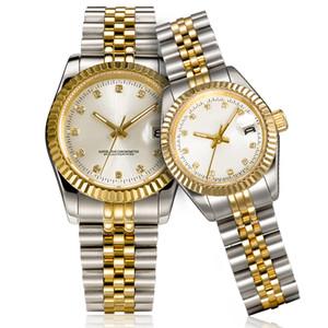 montre de luxe mens automatische Golduhr Frauen kleiden vollen Edelstahl Saphirwasserdicht Luminous Paare Art klassische Armbanduhr