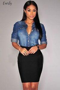 Womens Clothing Women Long Sleeve Denim Blouse Casual Office Button Down Shirt Tops Drop Shipping