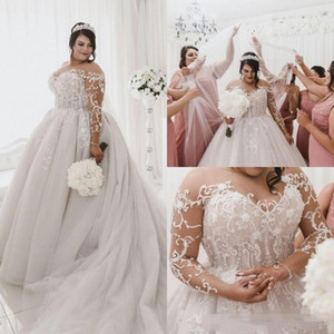 2020 Plus Size Wedding Dresses Long Illusion Sleeves Lace Applique Jewel Sheer Neck Beaded Pearls Custom Made Chapel Wedding Bridal Gown