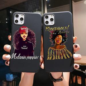La melanina PUNQZY Poppin reina iPhone Para XR XS MAX 11 6s Max7 Pro 8 más la caja de Verano Negro Magic Girl roca suave TPU CALIENTE