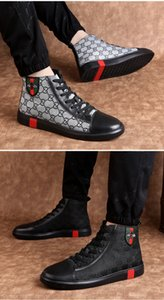 Newest Men Genuine Leather high tops embroidery bee Shoes Luxury Flat Walking Shoe Dress Party Wedding Shoes size 38-45 3