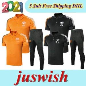 2020 Manchester POLO Kısa Gömlek Pantolon Birleşik Pogba Futbol Eğitim Suit 2021 RASHFORD Lukaku Man Futbol POLO Gömlek Eşofman