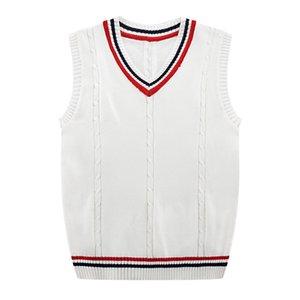 Herbst-Winter-2019 neue Männer Mode Fine Pur Color Business Leisure Vest Pullunder Male beiläufige adrette Art Sweater CX200730