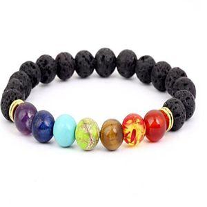 Black Lava Volcanic stone 7 Chakra Bracelet,Natural Stone Yoga Bracelet,Healing Reiki Prayer Balance Buddha Beads Bracelet . a969