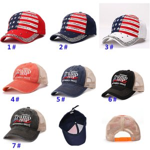 Make America Trump 2020 Caps President Hats Net New Baseball Ball Cap Rivet Diamond Bling Sports Travel Beach Sun Hat Party Hats HH9-2218