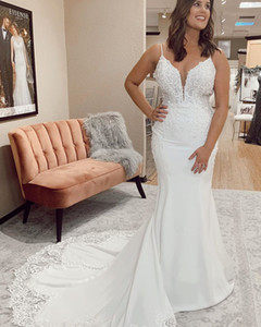 2020 Plus Size Arabic Aso Ebi Beaded Lace Mermaid Wedding Dresses Spaghetti Backless Bridal Dresses Cheap Wedding Gowns ZJ346