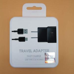 25W Orijinal OEM Siyah / Beyaz Hızlı Seyahat Adaptörü Duvar Şarj + C Tipi Kablo ile Perakende Samsung Galaxy S8 S8 Artı S10 Moto İçin Packaging