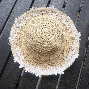 Cappello dei bambini Menoea 2020 Estate New Femminile Baby Flowers del cappello di paglia della ragazza piccola dolce Pescatore Sun Grasso protezione solare Sun marea b3r5 #