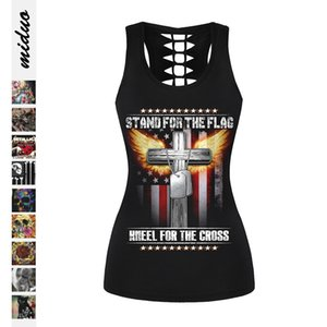Skull independent day digital printing women's slim I-type vest hollow sexy sleeveless top