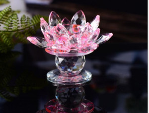 2020 Lotus lamp holder colorful crystal lotus candlestick candle light wedding with Buddhist candlestick butter lamp decoration 008