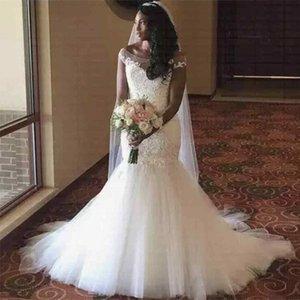 Cap Sleeves Mermaid Dresses New African Appliques Lace Wedding Dress Bridal Gowns Formal Party Vestido De Novia 2020