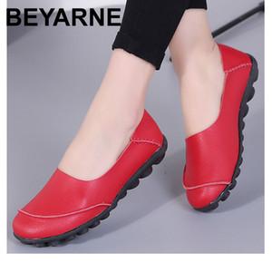 BEYARNE Womanshoes spring fashion style large size 35-44 genuine leather flats loafers slip-on female shoes sapatos femininoE014