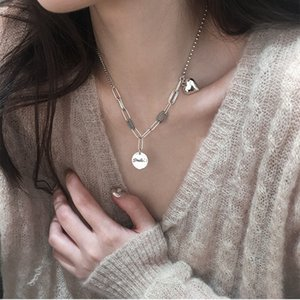 LISM 925 Silver Love Heart Round Disc Thai Silver Necklace Smiling Charm Long Necklace For Women Punk Jewelry Gifts