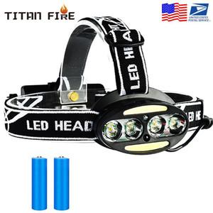 Индуктивный датчик движения тела LED Head Lamp Light 4 * T6 + 2 * COB Фара Фара К 18650