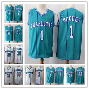 retroCharlotteavisponesBaloncesto Jersey 1 Tyrone Muggsy Bogues 30 Dell Curry 2 Larry Johnson jerseys de la vendimia