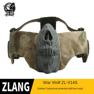 Lobo guerreiros batalha placa ouvido elite ao ar livre ciclismo respirável metade Guerreiro cara batalha máscara tático máscara de caveira metade do rosto